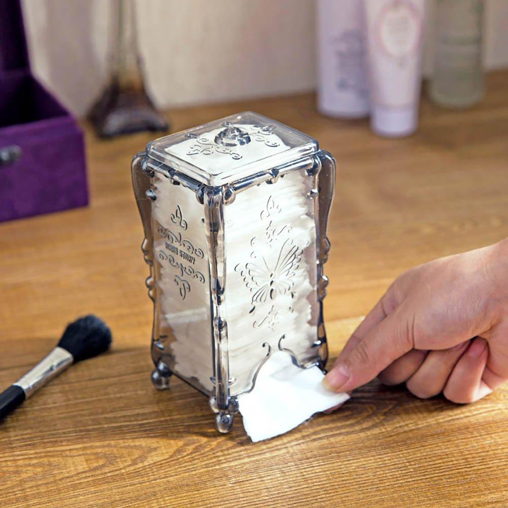 Milopon Wattepad Box Halter Make-Up-Veranstalter Wattest/äbchen Acryl Box Mit Deckel Cotton Ball Pad Aufbewahrungsbeh/älter Fall Kaffee