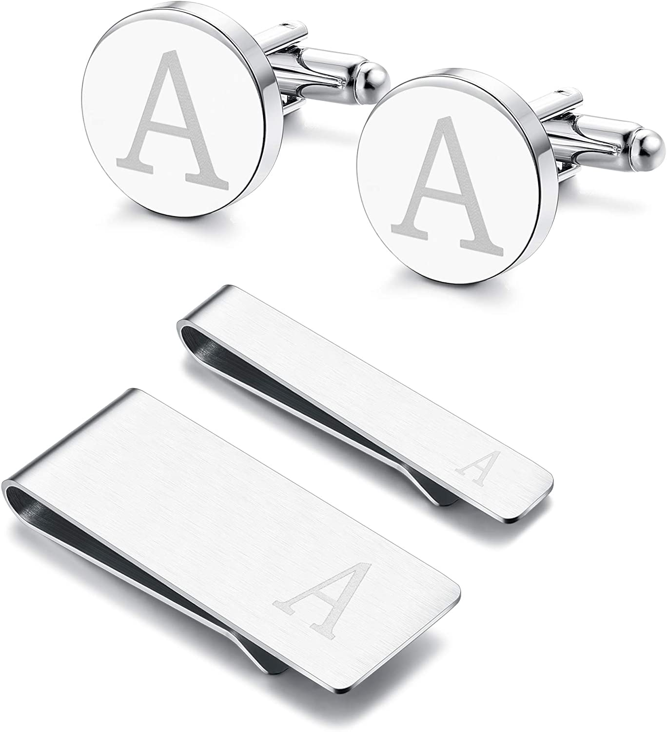 Subiceto 4 PCS Tie Bar Money Clip Cufflinks for Men Stainless Steel Personalized Initials Alphabet A-Z Business Gift Set