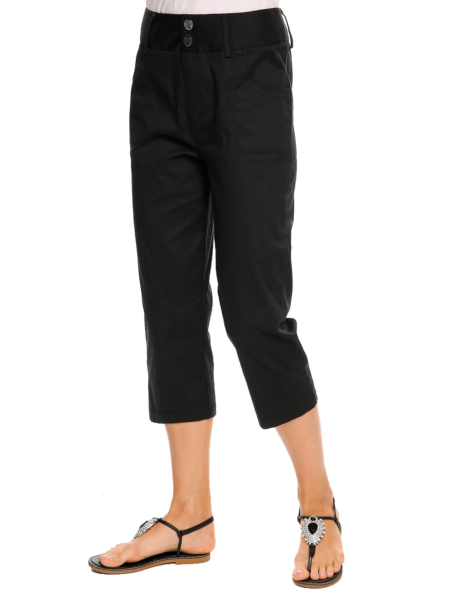 Women's Flat Front Stretch Twill Pant, Black, M