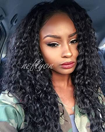 a842cce0c Amazon.com : 360 Lace Frontal Wigs 150% Density Deep Curly Human Hair Wigs  with Baby Hair Brazilian Virgin Human Hair Lace Wigs for Black Women  Natural ...