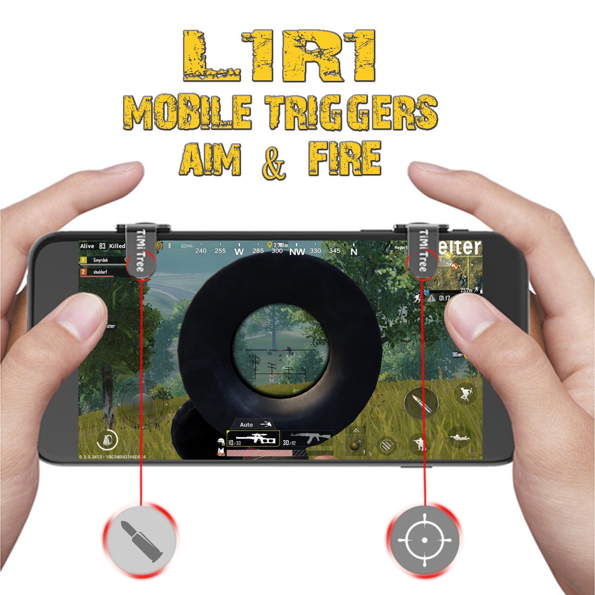 PUBG Mobile Game Controller/Triggers/Joystick, FORTNITE L1 R1 Mobile Claw Metal, Precise Aim and Shoot Button Keys for FPS Survival Game,Cell Phone Game Controller for Android IOS - TiMi Tree