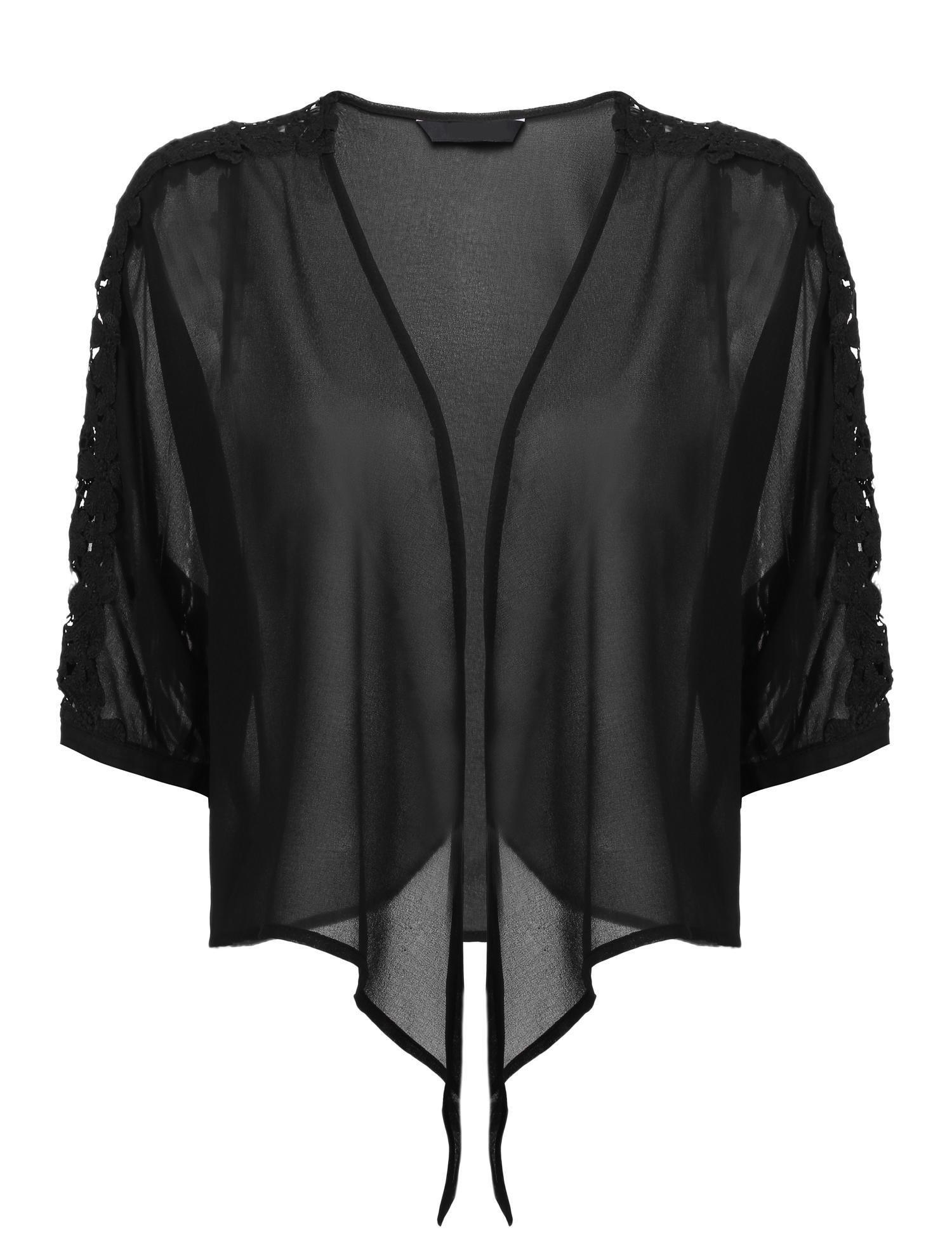 Grabsa Women's Half Sleeve Sheer Chiffon Bolero Shrug Tie Front Open Front Cardigan