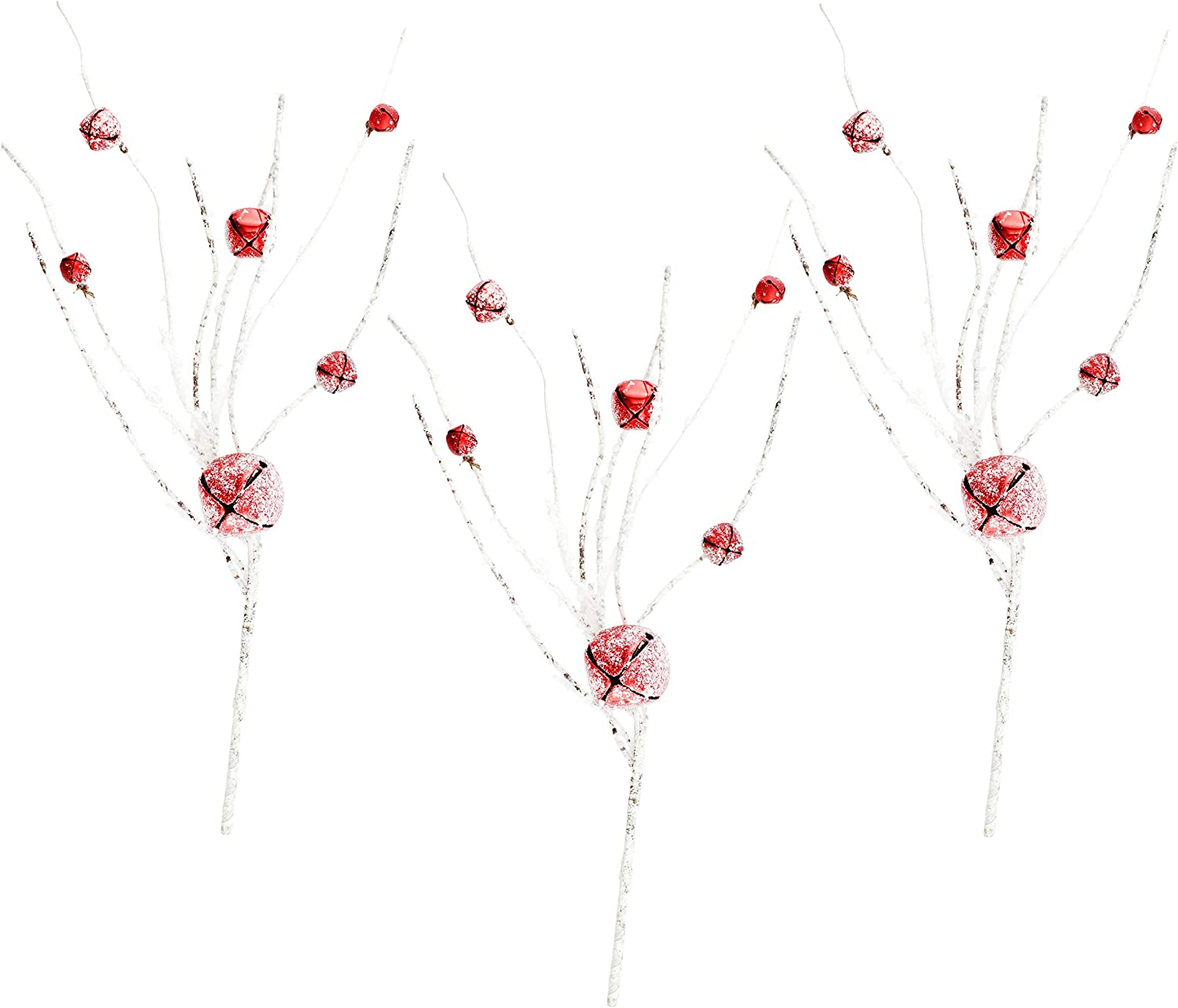 AuldHome Snow Frosted Jingle Bell Picks (Set of 3, 18-Inch); Glittery Twig and Red Bell Floral Picks for Christmas and Seasonal Decor