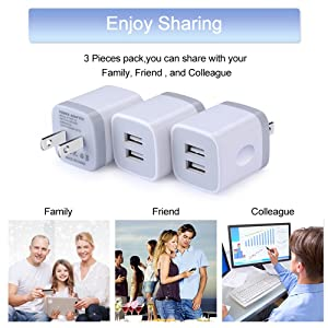 USB Wall Charger,Charging Adapter Embink 3-Pack 2.1A Dual Port USB Wall Charging Plug Block Travel Charger Cube Replacement for iPhone X 8/7/6 Plus,iPad,iPod,Samsung,Huawei,LG,Android Phone (Color: 3pcs White)