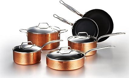 color negro exterior efecto cobre Lagostina Cobre aluminio antiadherente Juego de ollas y sartenes 5 unidades