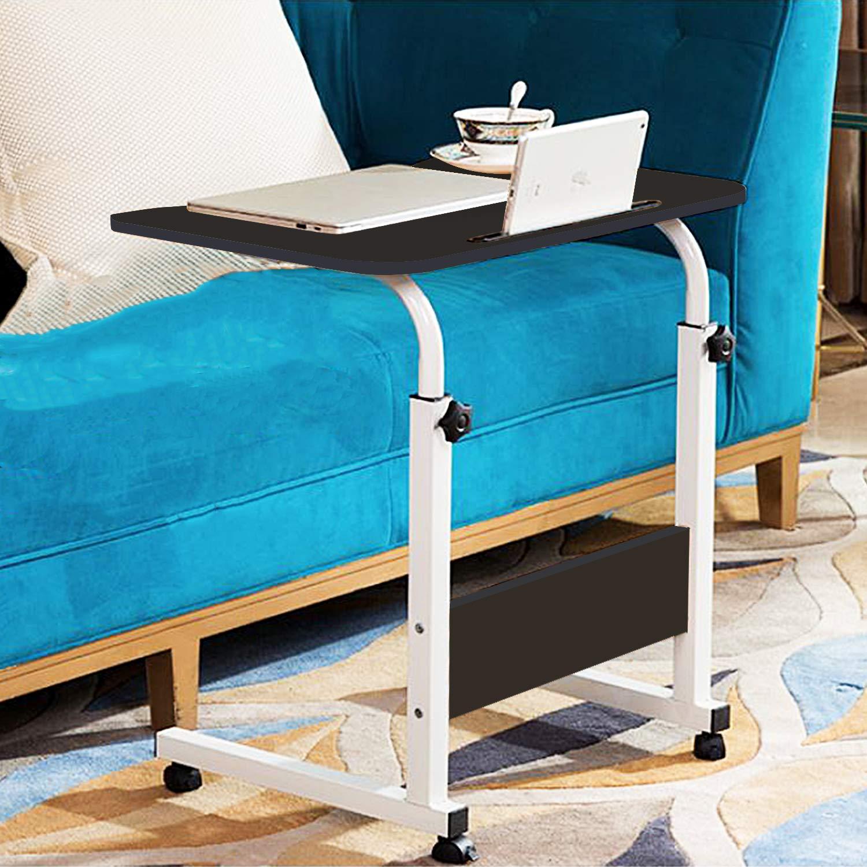 Jerry & Maggie Adjustable Height Desk Laptop Desk   Phone Holder   4 Wheels Movable Table Lapdesk  Body Curve Edge Design   Wood Desk Cart Tray Side Table for Bed - Black