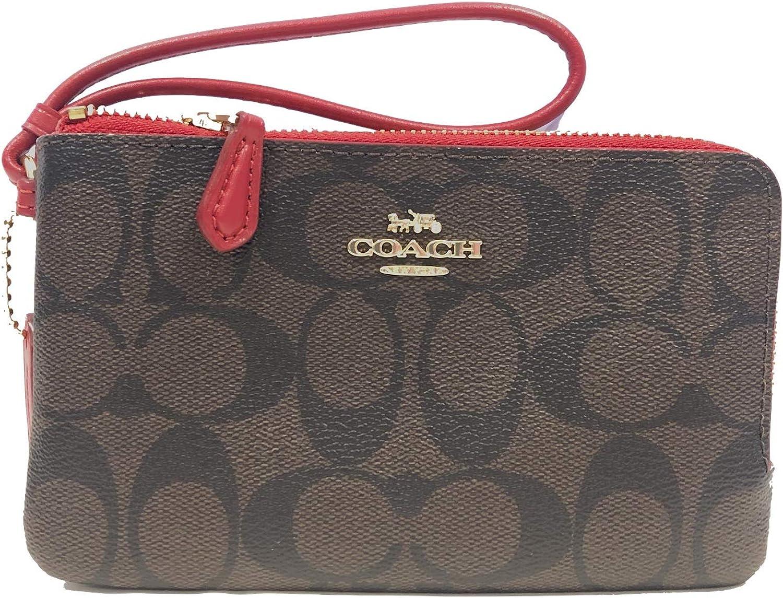 Coach Signature PVC Double Corner Zip Wristlet Wallet (IM/Brown True Red)