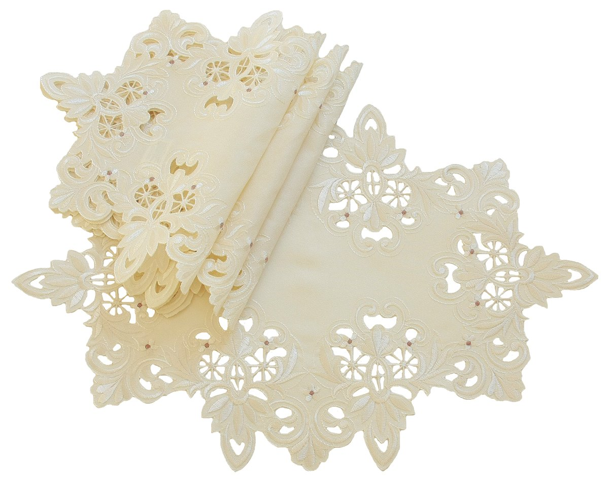 Xia Home Fashions Victorian Lace Embroidered Cutwork Placemat Set of 4 12 by 18-Inch Ivory