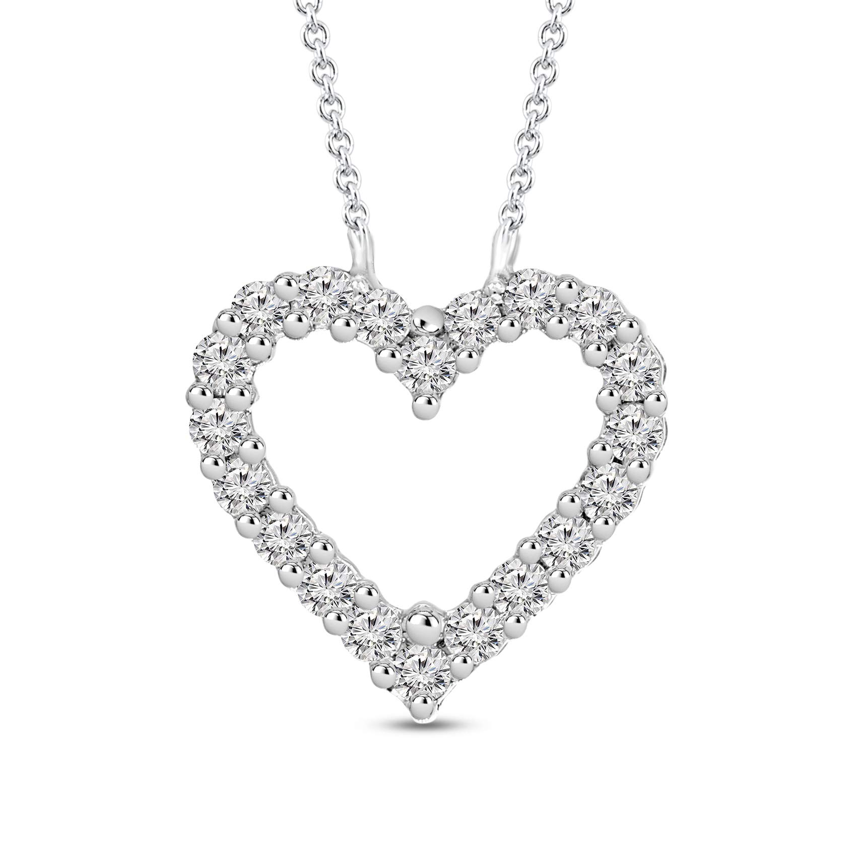 Mothers Day Gift 1/2 ctw IGI Certified Heart Necklace For Women Natural Diamond Heart Pendant I1-GH Quality 10K Gold 100% Real Diamond Pendant (1/2 ctw, White Gold) (Jewelry Gifts For Mothers Day)