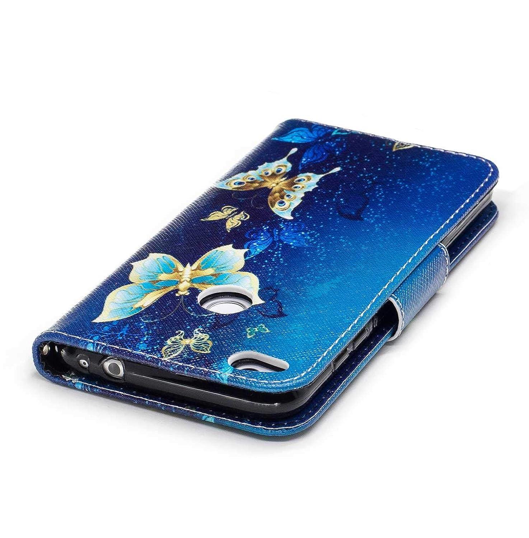 Bear Village/® Gemalt Muster Huawei P30 Lite H/ülle Bunte PU Leder Cover Filp Schutzh/ülle mit Kostenlos Schutzfilm aus Geh/ärtetem Glas f/ür Huawei P30 Lite #1 Schmetterling