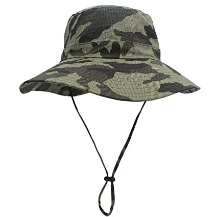bd9f4670 LLmoway Men Outdoor Large Brim Summer Bucket Hat with Strap Breathable  Hiking Cap UPF50 Army Green