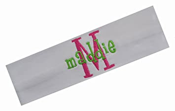 Amazon.com   Personalized Embroidered Monogrammed Girlz Curlz Cotton Stretch  Headband by Funny Girl Designs ( 10 White Headband - Hot Pink Initial -  Lime ... 886df2dcb14