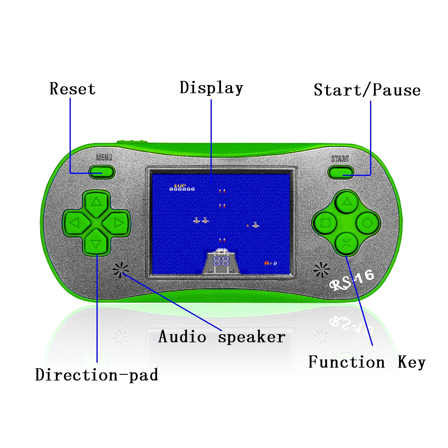 FAMILY POCKET RS16 Kids Handheld Gamer Portable Video Game Retro Gamer with 2.5 inch LCD Built-in 260in1 Classic Video Game