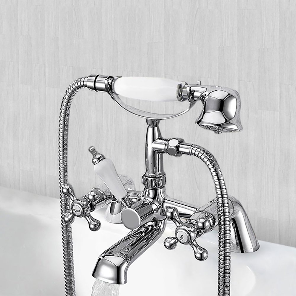 Traditional Bathroom Bath Taps Twin 2 Tap Hole Brass Cross Head Handles Chrome