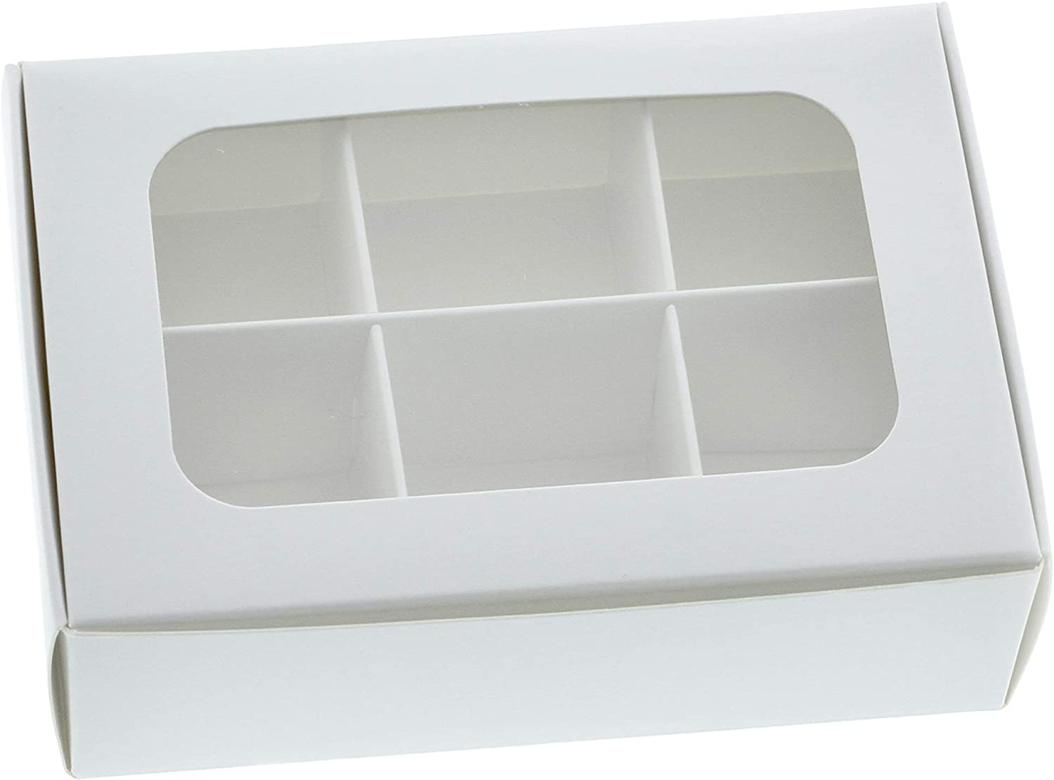 Gretel Mini Treat Boxes with Window and Dividers for Homemade Chocolates, Candy, and Confections. Size Small - 5 x 3.5 x 1.57 inches - Pack of 20 - White
