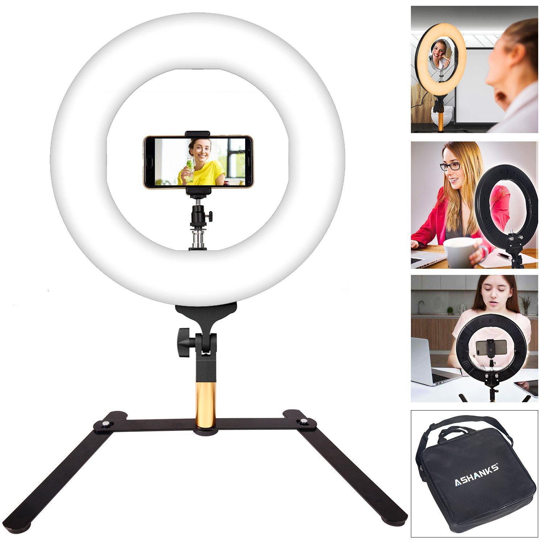 Camera Photo Ringlight Flash, ASHANKS 14inch Video Macro Ringlight 336 LED MSD 2800K-5500K Ring Light Dimmable Fluorescent Flash Lighting Kit for Photography Vine Self-Portrait Video Shooting