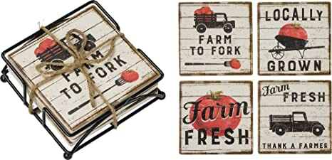 Primitives By Kathy Farm To Fork Table Farming Theme Set Of 4 Coasters Gift Pack