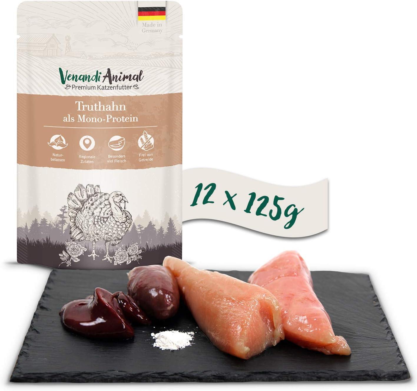 Venandi Animal - Pienso Premium para Gatos - Pavo como monoproteína - Completamente Libre de Cereales - Pouches 12 x 125 g