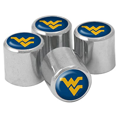 NCAA West Virginia Mountaineers Metal Tire Valve Stem Caps, 4-Pack: Sports & Outdoors