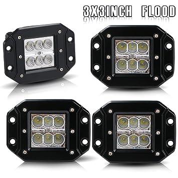 DakRide 4pcs 3x3 Inch Led Work Light 18W Flood Beam Driving