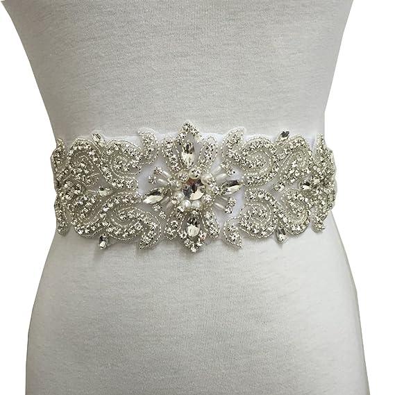 Sparkling Rhinestone Applique Belt Hot Glued on Wedding Bridal Sash Shoe Clips