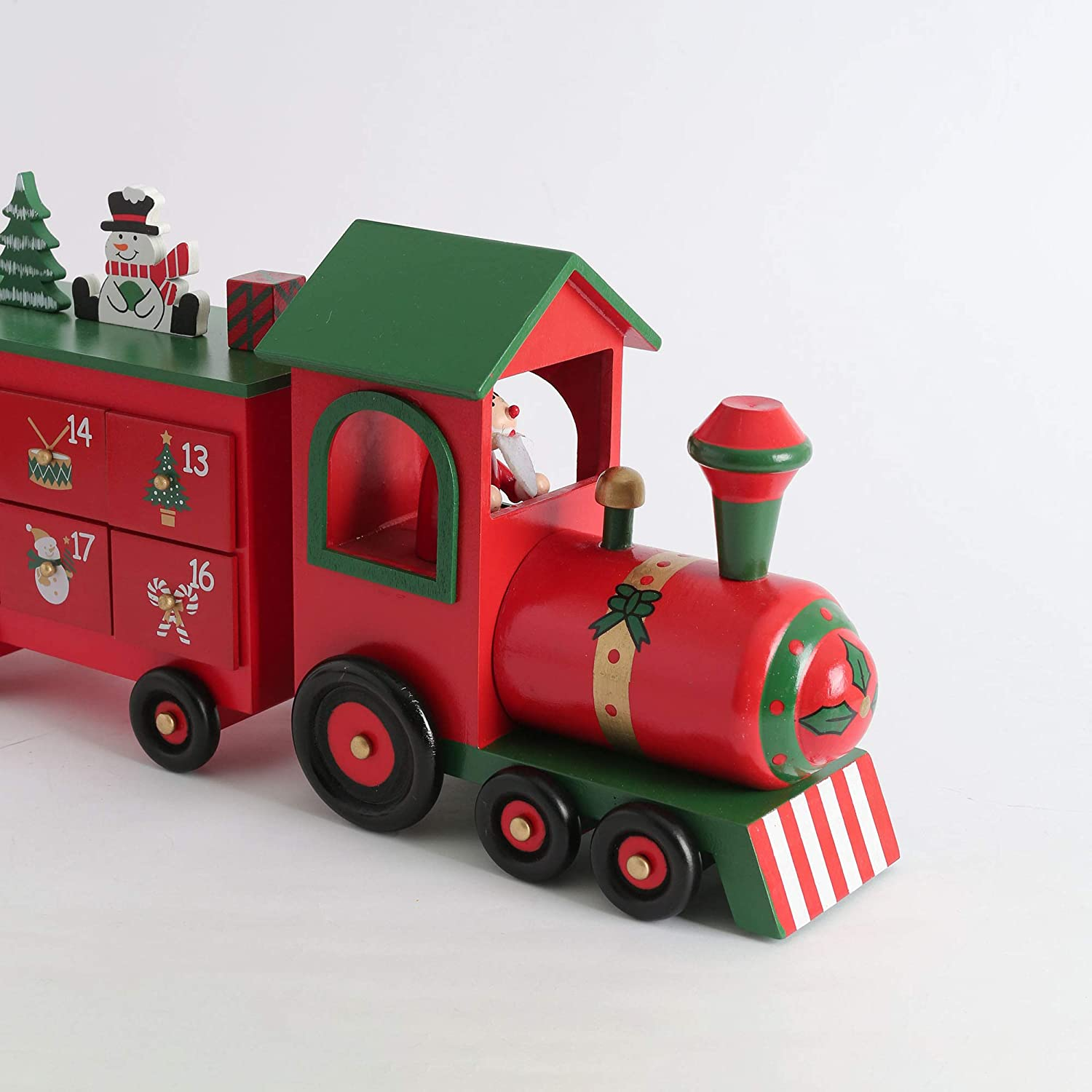 PIONEER-EFFORT 24 Inch Christmas Wooden Advent Calendar Train with 24 Drawers Christmas Countdown Tabletop Decoration Red and Natural