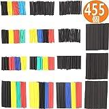 455ピースセット熱収縮チューブ 絶縁チューブ 防水 高難燃性 チューブ シュリンクチューブ 5色 8サイズ 127個セットと328個セットの2セット組計455個