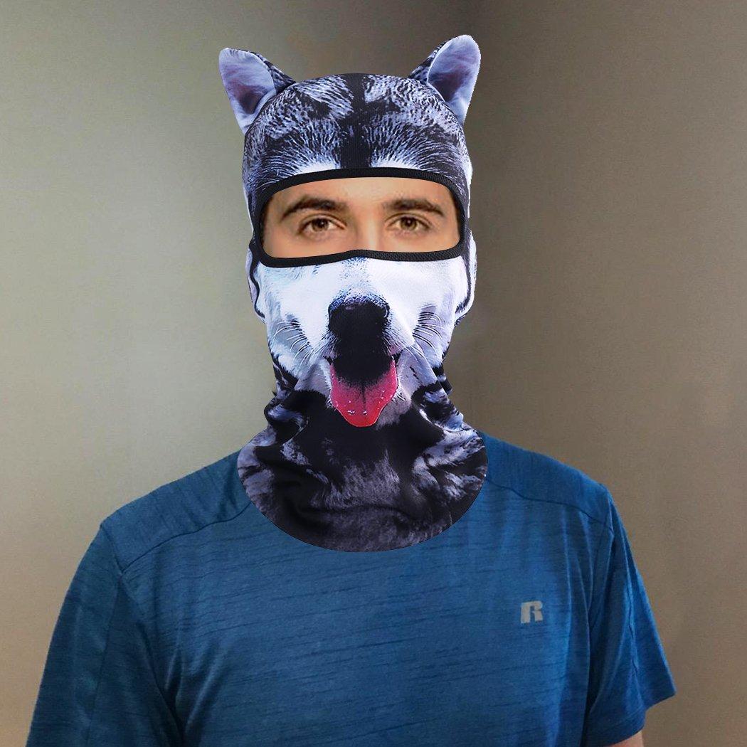 Outgeek Cat Mask, Women Men Balaclava Summer Full Face Hat Animal Ears Sports Helmet Climbing Fishing Cap (2PCS Dogs) by Outgeek (Image #3)