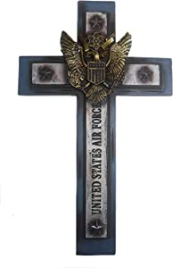 "Polly House United States Airforce Cross 12""x 7"" Military Wall Hanging Decor (RA4408)"