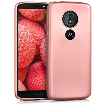 kwmobile Funda para Motorola Moto G6 Play - Carcasa para móvil en TPU Silicona - Protector Trasero en Oro Rosa Metalizado