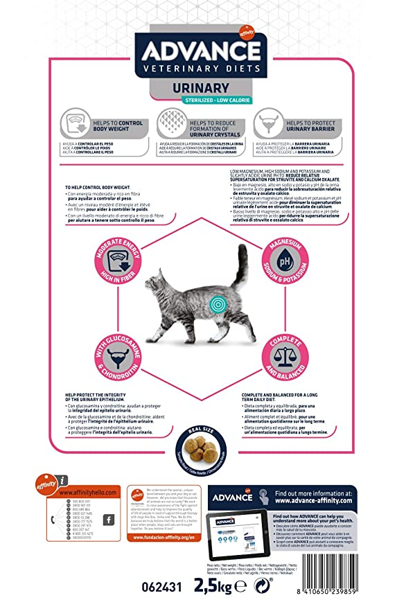 Advance Veterinary Diets Urinary Low Calorie Pienso para Gatos - 2500 gr: Amazon.es: Productos para mascotas