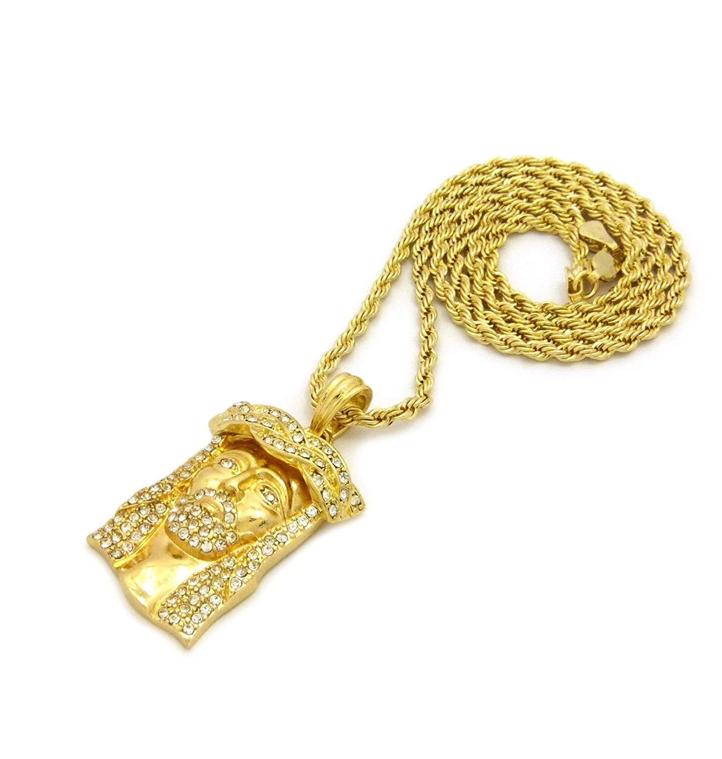 XQP39RCG NEW ICED OUT JESUS FACE PENDANT /&3mm//24 ROPE CHAIN HIP HOP NECKLACE