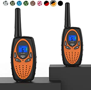 Topsung Two Way Radios for Adults, M880 FRS Walkie Talkie Long Range with VOX Belt Clip/Hands Free Walki Talki with Noise Cancelling for Women Kids Camping Hiking Cruise Ship (Orange 2 in 1)