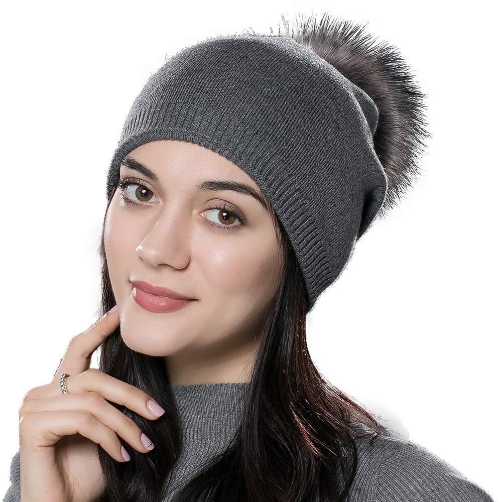 Winter Beanie Hats for Women Genuine Fur Pompom Beanie Knit Wool Hats Ski Cap