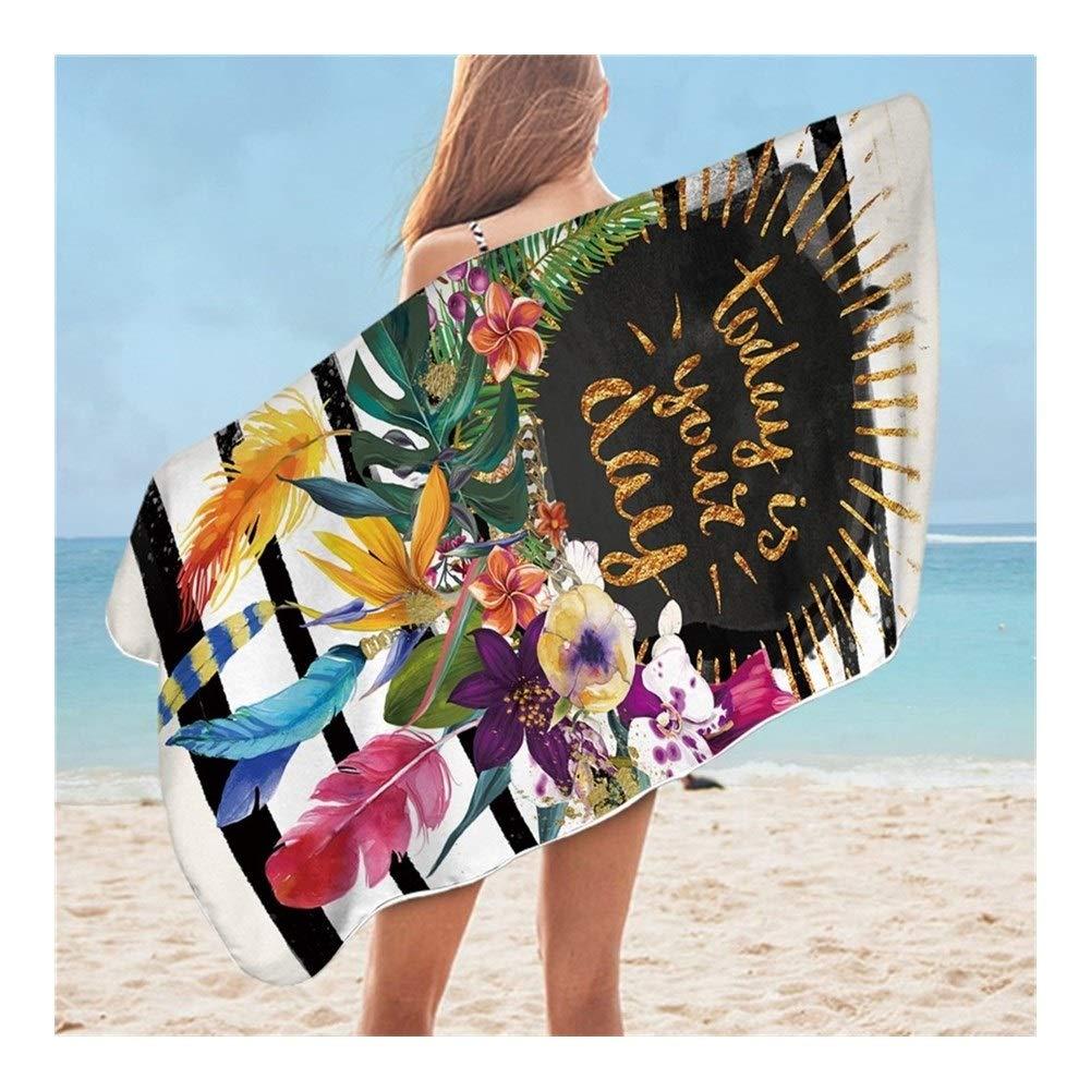 Size : 75cmx150cm ZMK-720 Bath Towel Bedding Floral Garland Bathroom Towel Microfiber Pink Beach Towel Striped Rectangle Mat 75x150cm Soft