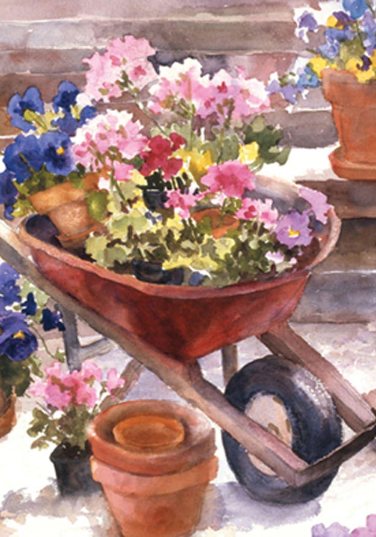 """Toland Home Garden 117213 Red Wheelbarrow 12.5 x 18 Inch Decorative, Garden Flag-12.5"""" x 18"""""""