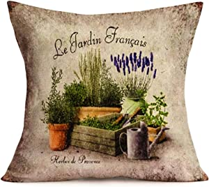 "Fukeen Vintage Cotton Linen Throw Pillow Cases French Botanical Lavender Floral Decorative Cushion Cover Rustic Signs Board Home Garden Decorative Sham Pillow Covers Standard 18""x18"""