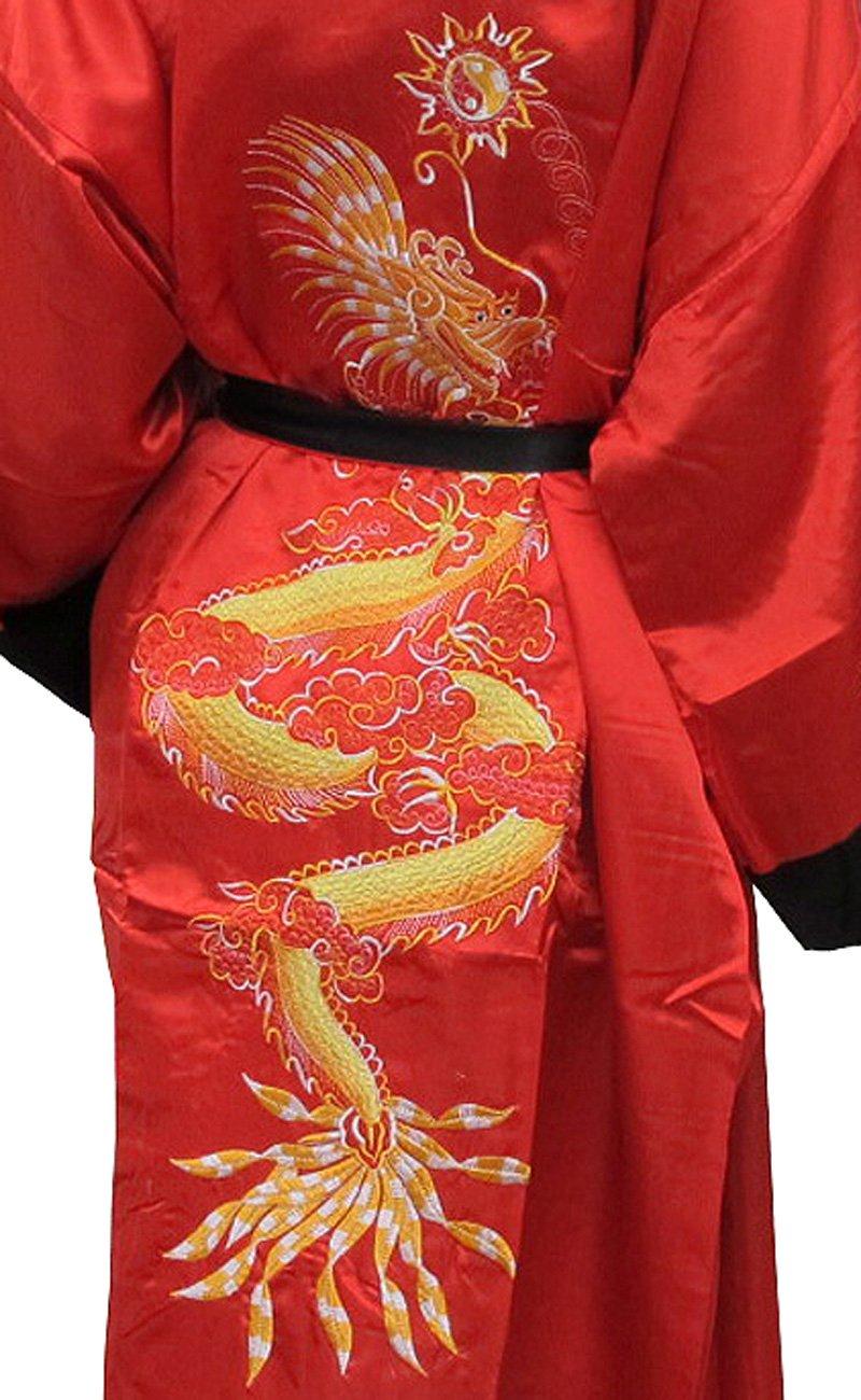 S Thai Silk-Blend Child/'s Robe Kimono Gold Reversible Dragon//Unisex New