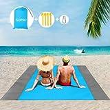 ISOPHO Beach Blanket, 79''×83'' Picnic Blankets Waterproof Sandproof for 4-7 Adults, Oversized Lightweight Beach Mat…