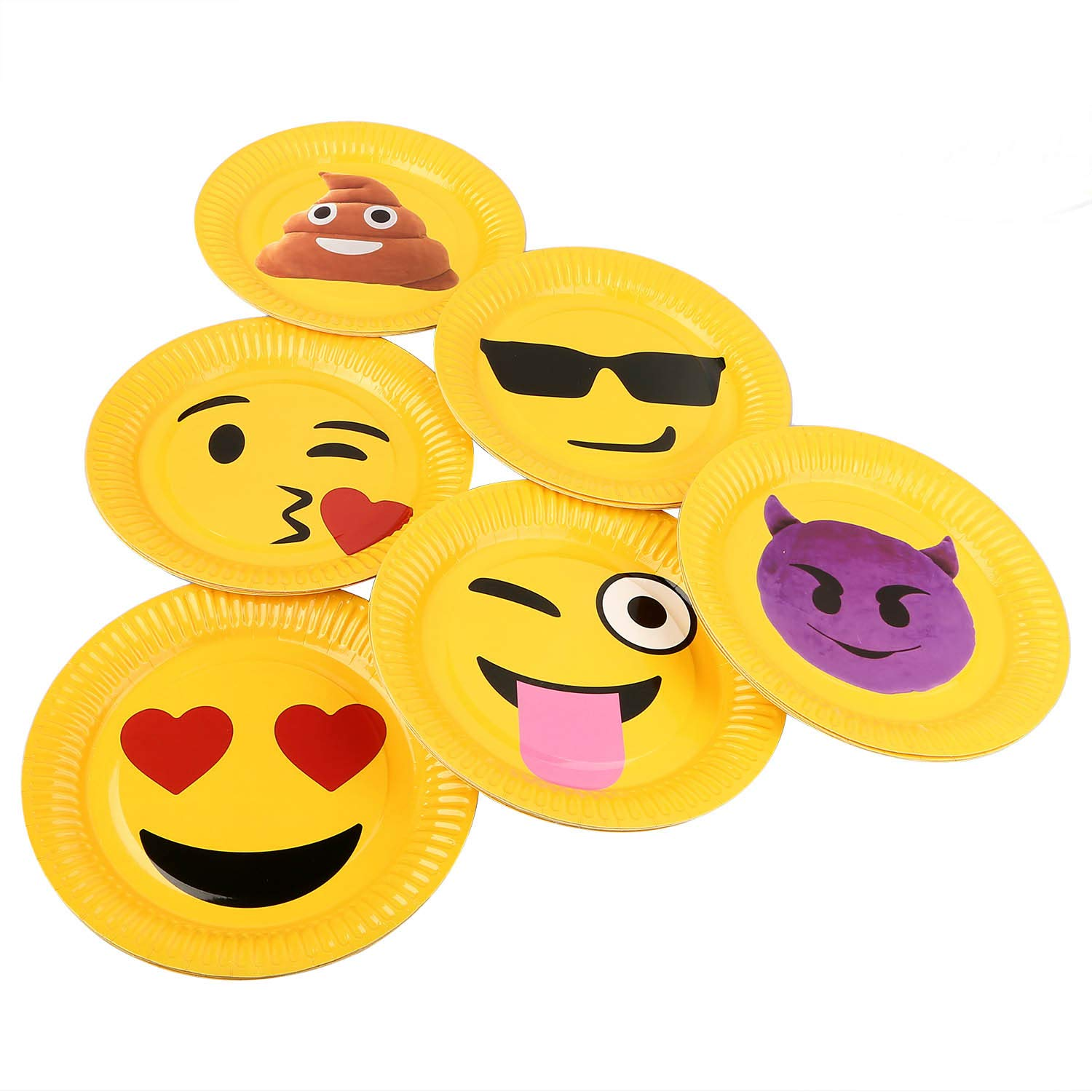 ritastar Disposable Party Dinner Paper Plates 9 inch Funny Emoji Smiley  Face Decorations Birthday Holiday Christmas Wedding Family Gathering (30pcs)