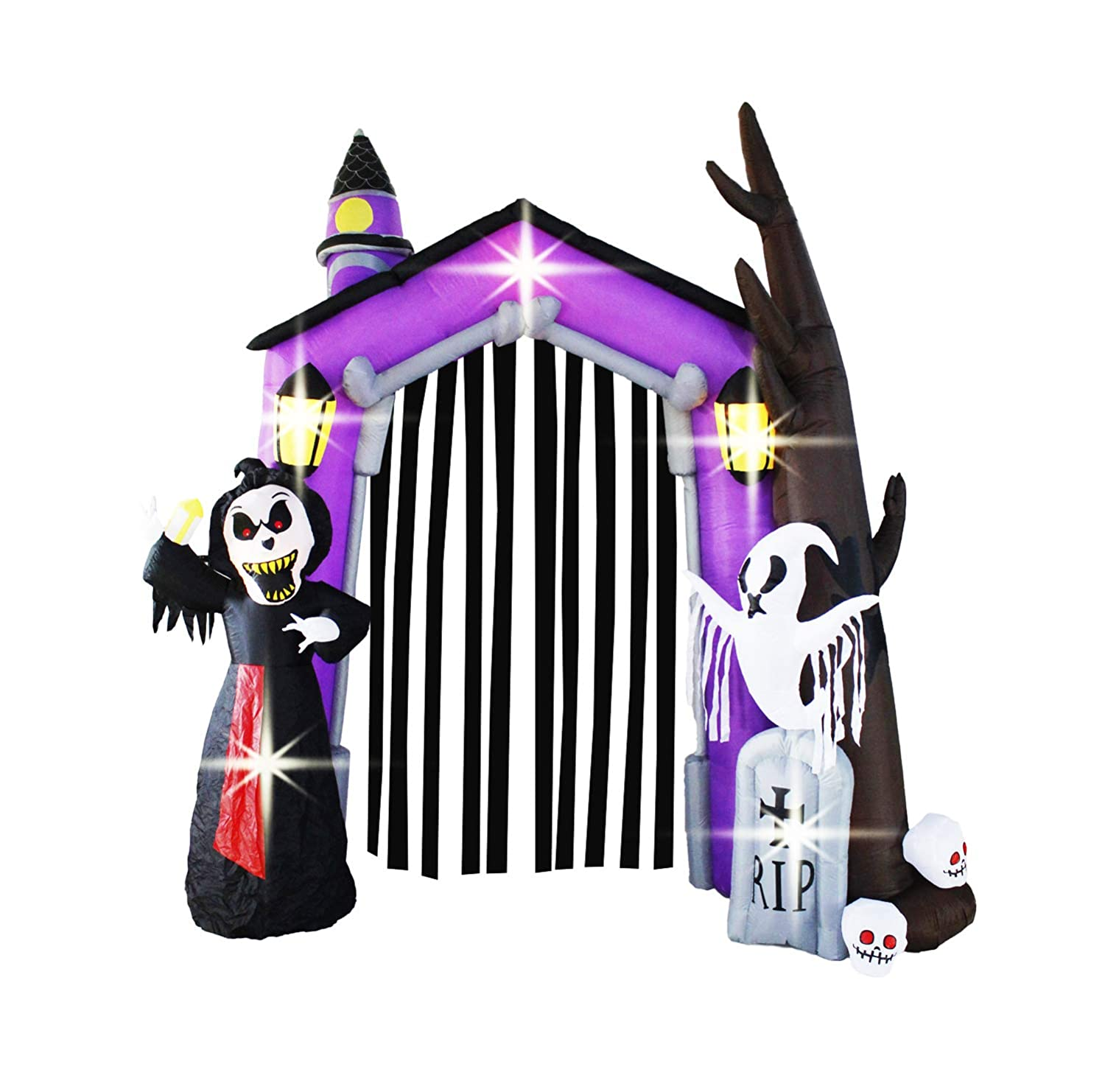 Bigjoys 9 Ft Halloween Inflatable Arch Archway Gate with Reaper Ghost Gravestone for Outdoor Home Garden CHHA1506-270