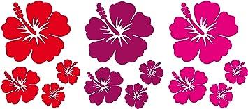 Dd Dotzler Design Auto Aufkleber Set Hibiskus Blumen Blüten Sticker Blumen Ranke Vinyl Folie Auto Dekor Aufkleber Folie 12 Stück Farbe Rot Pink Violett Auto