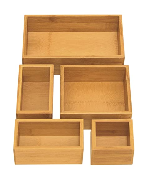 Seville Classics 5 Piece Bamboo Storage Box Drawer Organizer Set