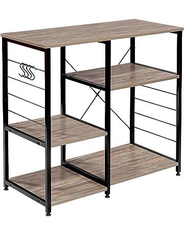 WOLTU #1298 Küchenregal Standregal Mikrowellenhalter Bäcker Regal  Metallregal Aus Holz Und Stahl, Mit 5