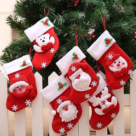 doxungo Juego de calcetines de Navidad Candy bolsa medias de Navidad Papá Noel Muñeco de nieve