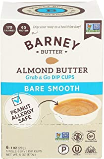 product image for BARNEY Almond Butter Dip Cups, Bare Smooth, No Stir, No Sugar, No Salt, Non-GMO, Skin-Free, Paleo, KETO, 1 Ounce Cups, 6 Count (Pack of 6)