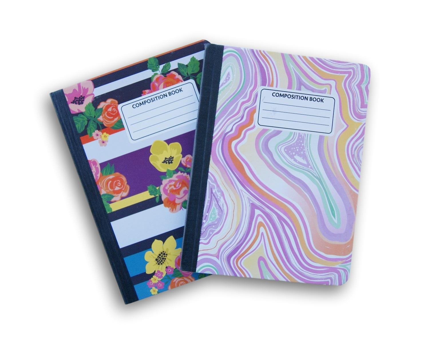 Floral and Swirl Patterned Wide Ruled 100 Sheets Composition Notebooks - (Pack of 2)