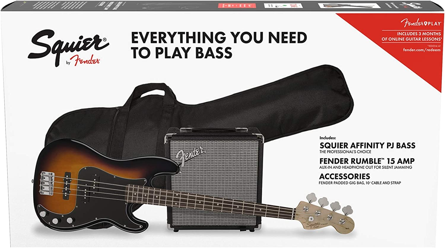 Squier by Fender Affinity Series Precision Bass PJ Beginner Pack, Laurel Fingerboard, Brown Sunburst, with Gig Bag, Rumble 15 Amp, Strap, Cable, and Fender Play