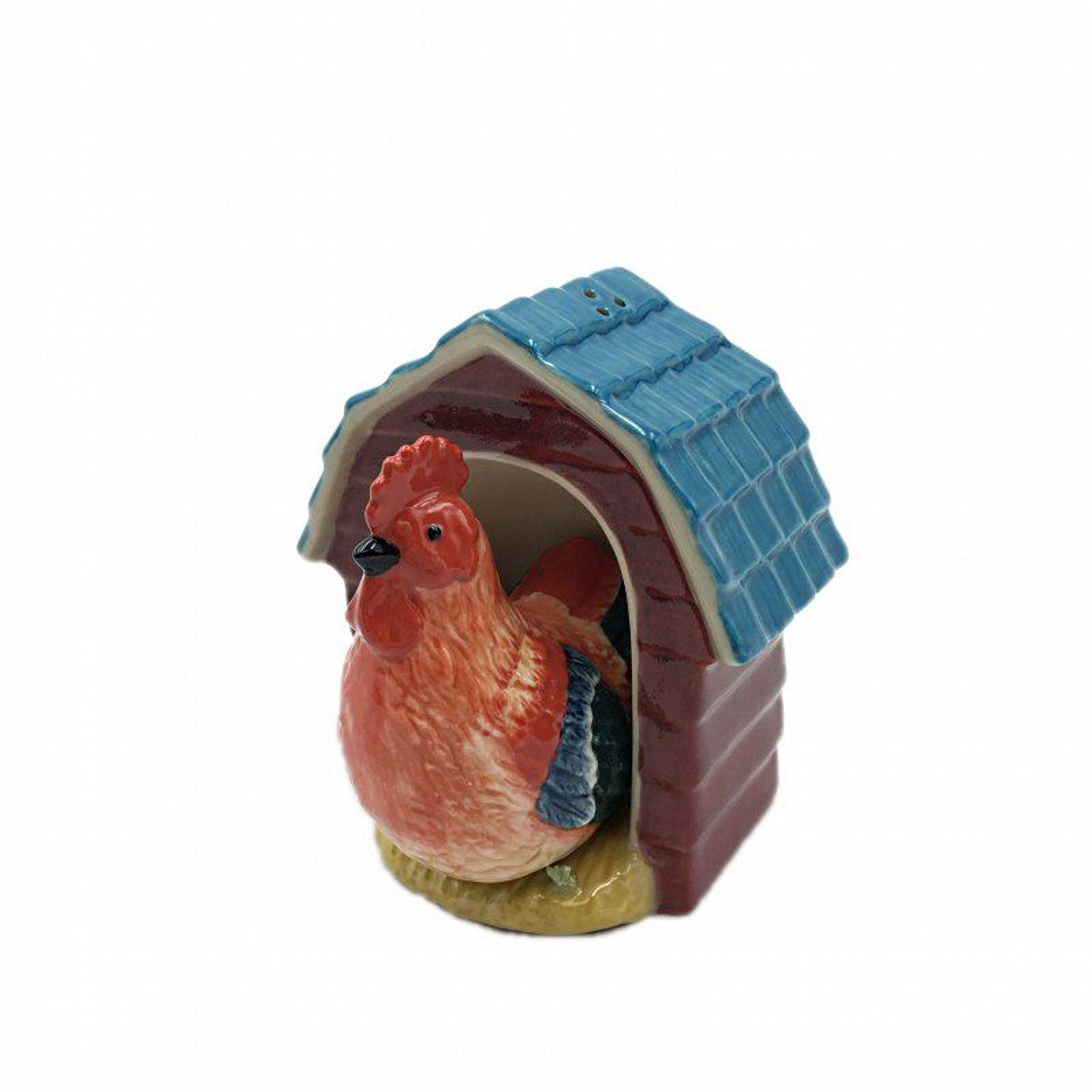Cosmos Gifts Rooster in Coop Ceramic Salt and Pepper Shakers Farm Animals Bird 20772 New
