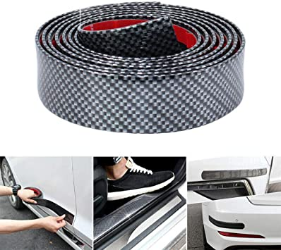 Universal Door Entry Guards Scratch Cover Protector Paint Threshold Guard,Carbon Fiber Rubber Car Bumper Door Guard//Rear Bumper Guard Scratch Protection Strip for Most Cars 100/% Waterproof 1.96 Inch